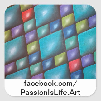 Original Painting Harmony In Blue Square Stickers