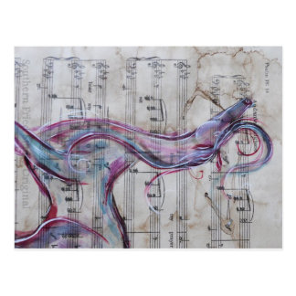 Original Painting Horse on Song sheet Post Card