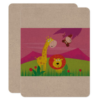 Original paper greeting with Zoo animals Card