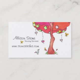 Original Patches Tree Illustration Business Card
