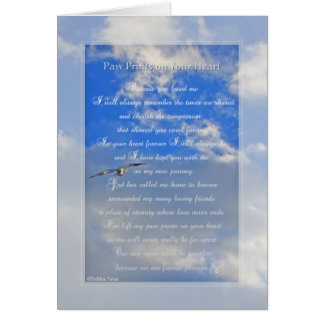 "Original ""Paw Prints On Your Heart"" pet sympathy Card"