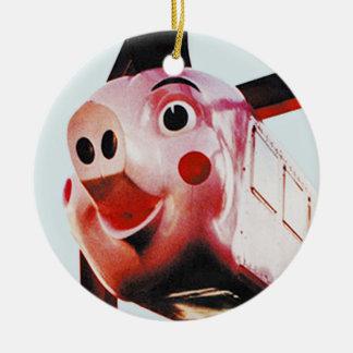 Original Pink Pig, Rich's, Atlanta Christmas Orn Round Ceramic Decoration