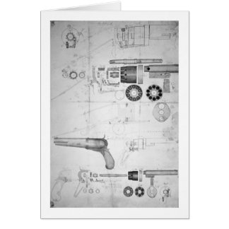 Original plans for a ten-chamber revolver which la card
