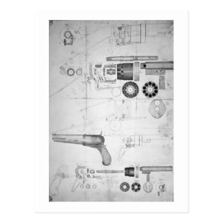 Original plans for a ten-chamber revolver which la postcard