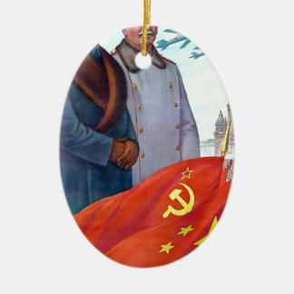 Original propaganda Mao tse tung and Joseph Stalin Christmas Ornament