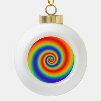 Original Rainbow Gradient Colorful Spiral Effect Ceramic Ball Christmas Ornament