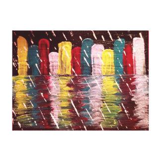 Original Rainy Cityscape Art Canvas Print