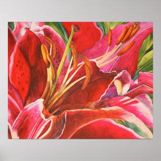 Original Red Lily Watercolor Canvas Print Design