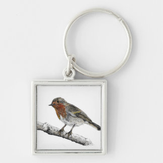 Original Robin Sketch Key Ring Silver-Colored Square Key Ring