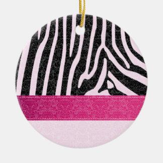 Original  romantic zebra damask pink / add name christmas ornament