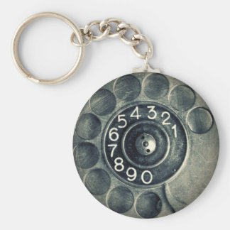 original rotary phone basic round button key ring
