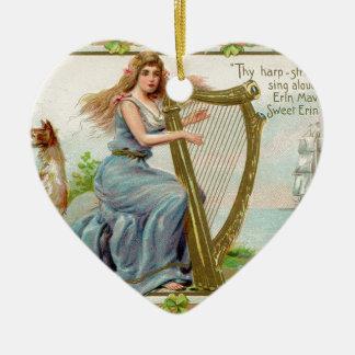 Original Saint patrick's day harp & lady Christmas Ornament