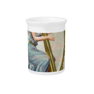 Original Saint patrick's day harp & lady Pitcher