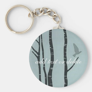 Original silver birch, bird artwork basic round button key ring
