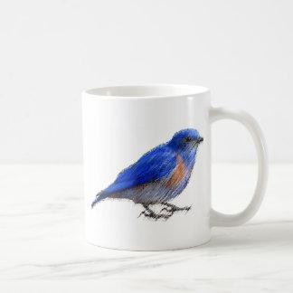 Original sketch of a blue bird (bluebird) coffee mug