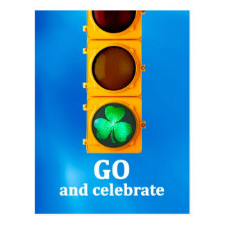 Original St. Patricks Day traffic signal light Postcard