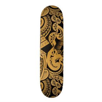 original tattoo drawing on wood island style skateboard