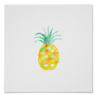 Original teal orange green watercolor pineapple poster