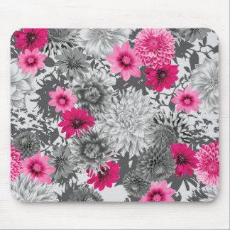 Original vibrant pink and grey floral design mouse mat