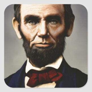 Original vintage color photo of Abraham Lincoln Square Sticker
