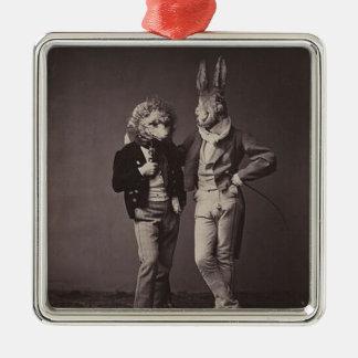 Original vintage halloween's costumes photo 900s Silver-Colored square decoration