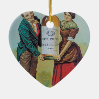 Original vintage Irish whisky poster, hand in hand Christmas Ornament