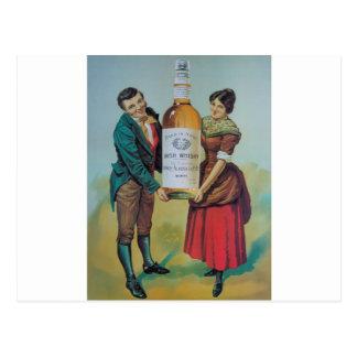 Original vintage Irish whisky poster, hand in hand Postcard