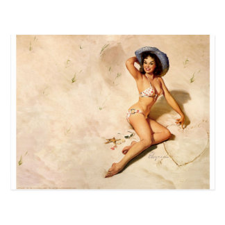 Original vintage pin-up girl on the beach postcard