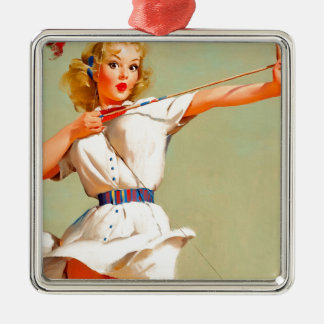 Original vintage Pin up poster with harrow Christmas Ornament