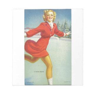 Original vintage pinup's portrait of 1940s - skate notepad