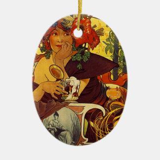 Original vintage poster: Bieres della meuse, Paris Ceramic Oval Decoration