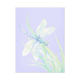 Original watercolor Blue Green Dragonfly Canvas Print