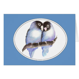 Original Watercolor Blue Lovebirds, Bird Card