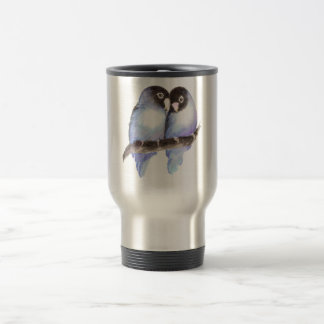 Original Watercolor Blue Lovebirds, Bird Travel Mug