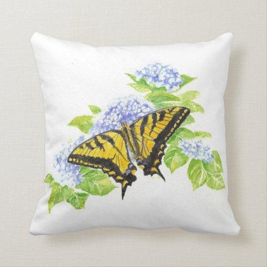 Original Watercolor Butterfly & hydrangea Flower Throw Pillow