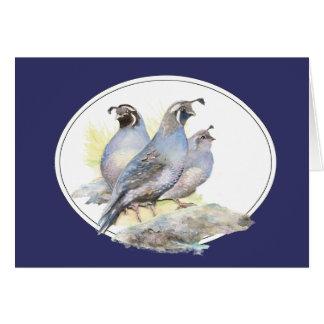 Original Watercolor California Quail Bird Card