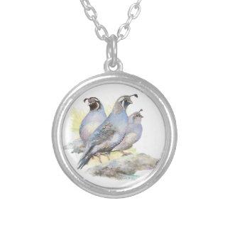 Original Watercolor California Quail Bird Silver Plated Necklace