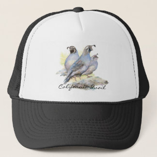 Original Watercolor California Quail. Bird Trucker Hat