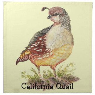 Original Watercolor California Quail  Garden Bird Printed Napkins