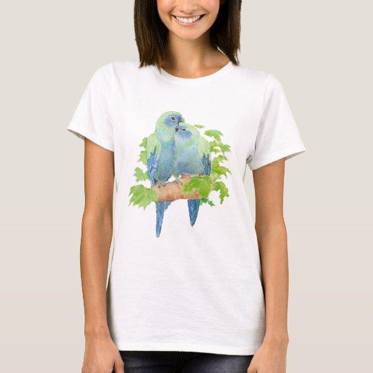 Original Watercolor Cute Cuddling Blue Parrots T-Shirt