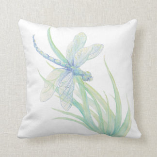 Original Watercolor Dragonfly in Blue and Green Cushion