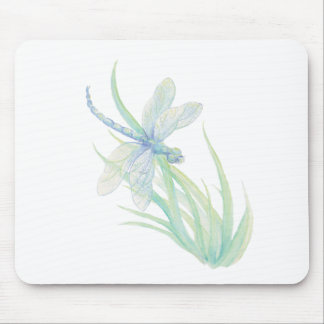 Original Watercolor Dragonfly in Blue and Green Mouse Mat