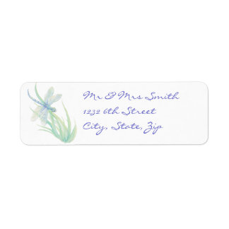 Original Watercolor Dragonfly in Blue and Green Return Address Label