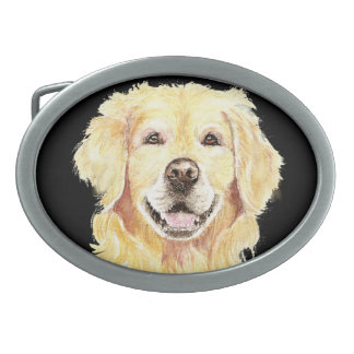 Original Watercolor Golden Retriever, Dog Pet Belt Buckle