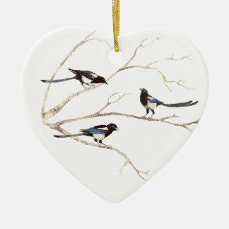Original Watercolor, Magpie Family, Birds Ceramic Heart Decoration