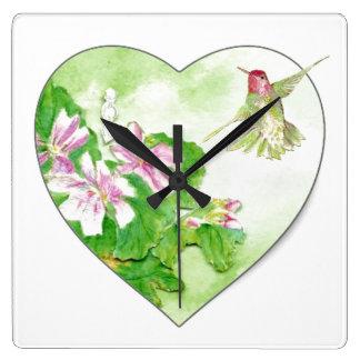Original Watercolor Rufous Hummingbird Bird Square Wall Clock