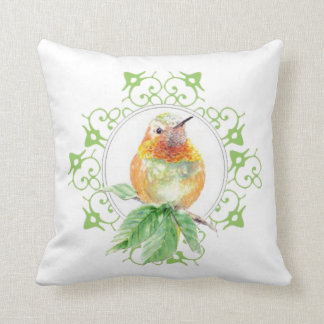 Original Watercolor Rufous Hummingbird Bird Throw Pillow