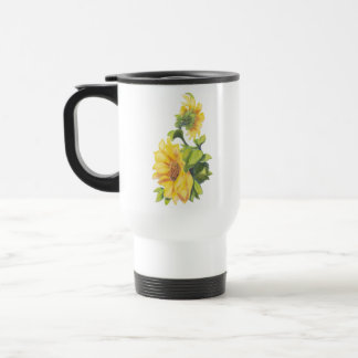 Original Watercolor Sunflower Garden Floral Travel Mug