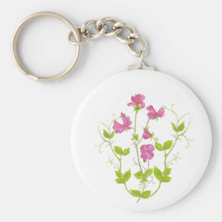 Original Watercolor Sweet Pea, Garden Flower Key Ring