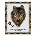 Original Watercolor Wolf, Tracks Mountain Quote Posters